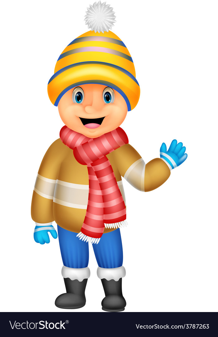 Cartoon a boy in winter clothes waving vector | Price: 1 Credit (USD $1)