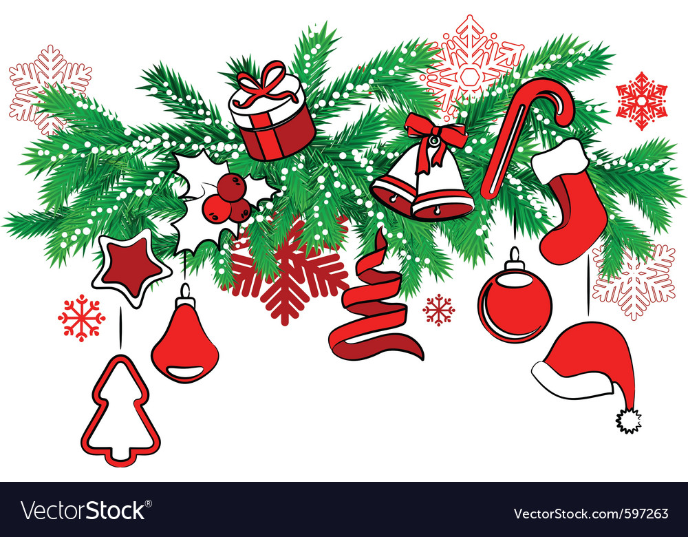 Christmas decoration on tree branch vector | Price: 1 Credit (USD $1)