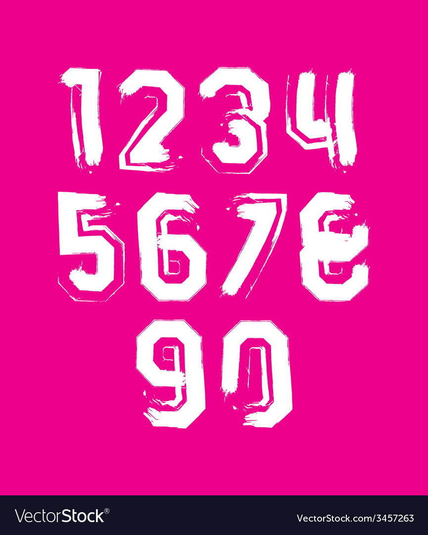 Creative handwritten white numbers set from 0 to vector | Price: 1 Credit (USD $1)