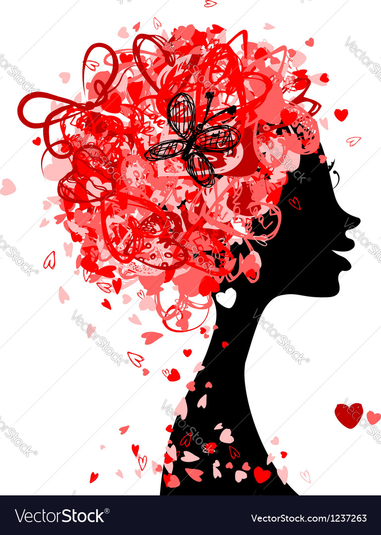 Female head with hairstyle made from tiny hearts vector | Price: 1 Credit (USD $1)