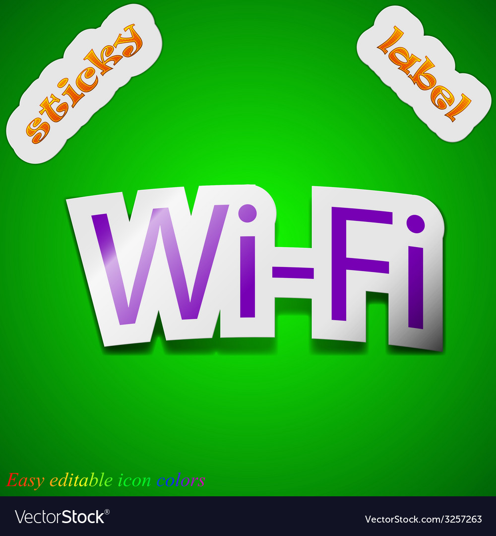 Free wifi icon sign symbol chic colored sticky vector | Price: 1 Credit (USD $1)