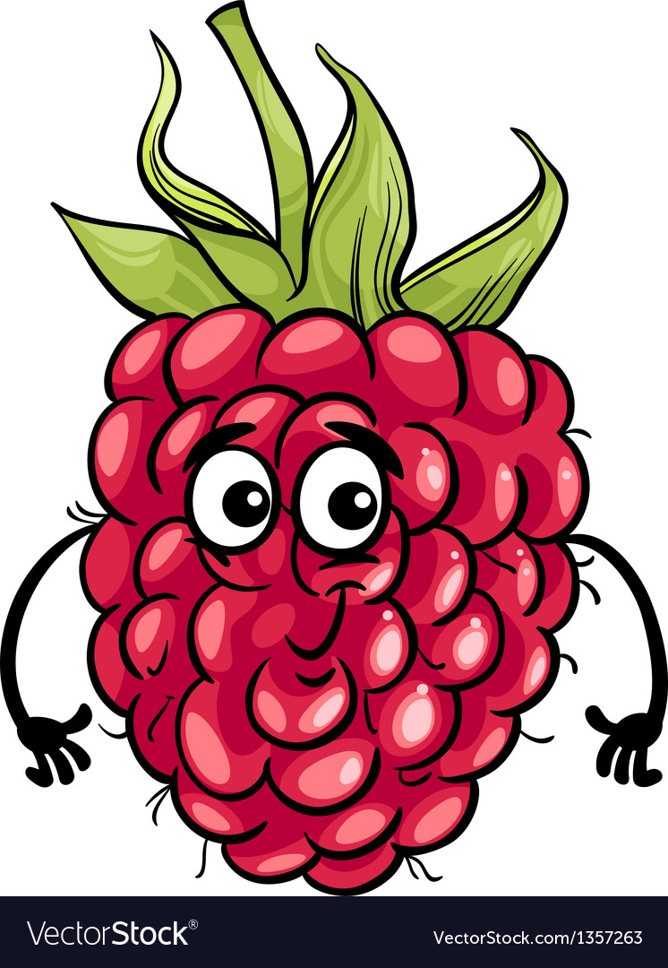 Funny raspberry fruit cartoon vector | Price: 1 Credit (USD $1)