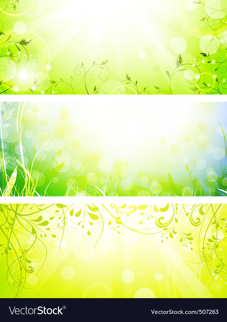 Green fresh banners vector | Price: 1 Credit (USD $1)