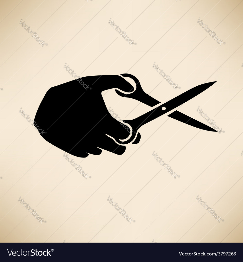 Hand with scissors vector | Price: 1 Credit (USD $1)