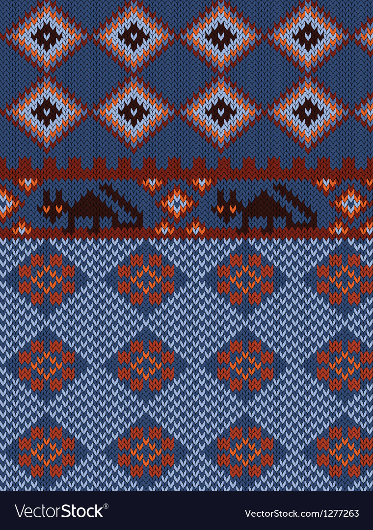 Knitted background with folk ornament vector | Price: 1 Credit (USD $1)