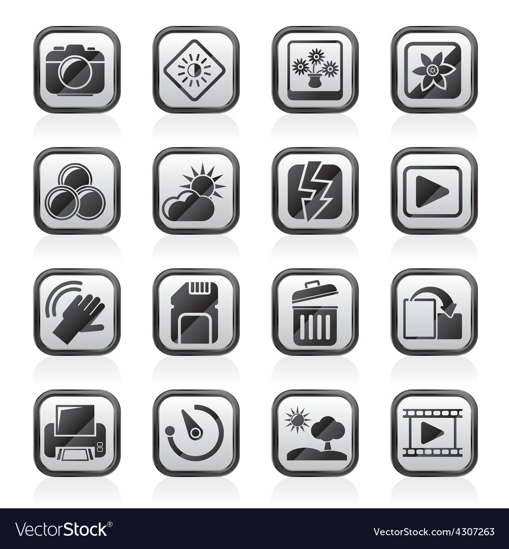 Photography and camera function icons vector | Price: 1 Credit (USD $1)