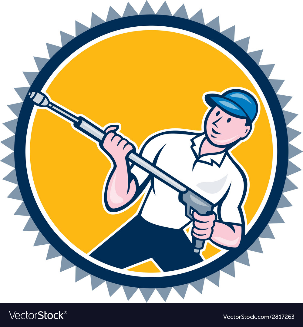 Pressure washer water blaster rosette cartoon vector | Price: 1 Credit (USD $1)