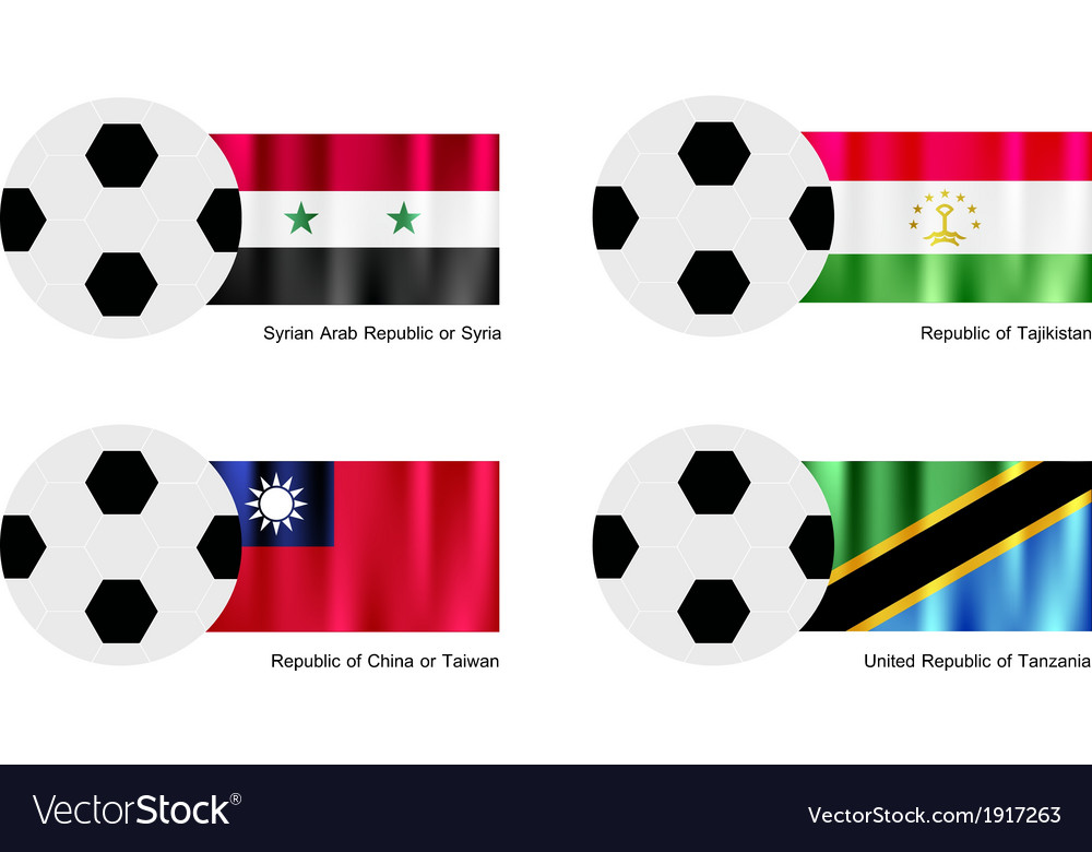Soccer ball with syria tajikistan taiwan flag vector | Price: 1 Credit (USD $1)
