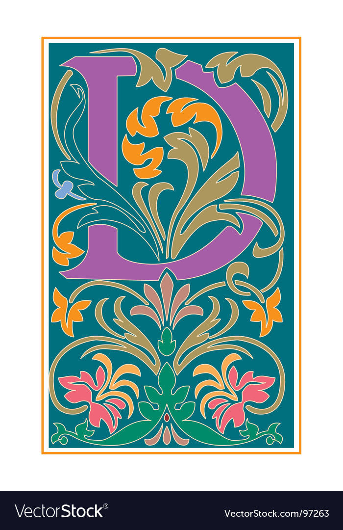 Victorian letter d vector | Price: 1 Credit (USD $1)