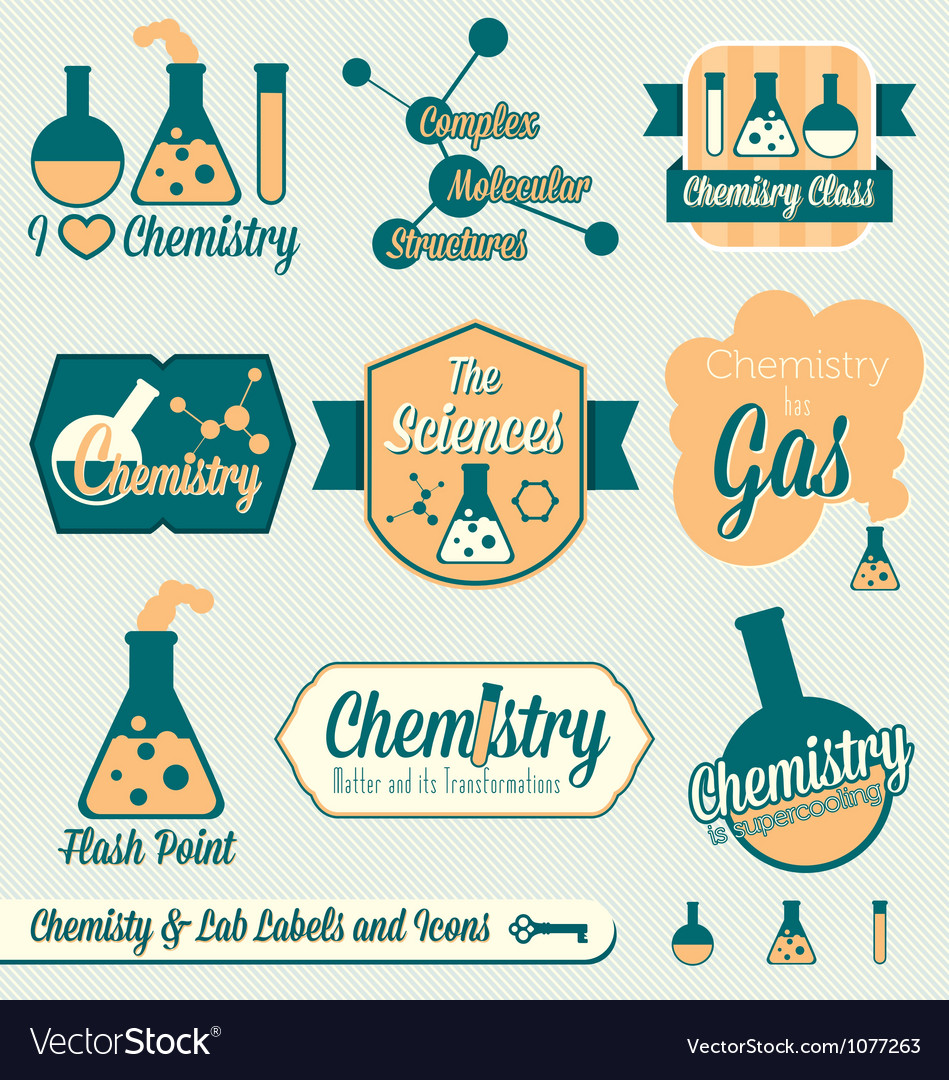 Vintage chemistry class labels and icons vector | Price: 1 Credit (USD $1)