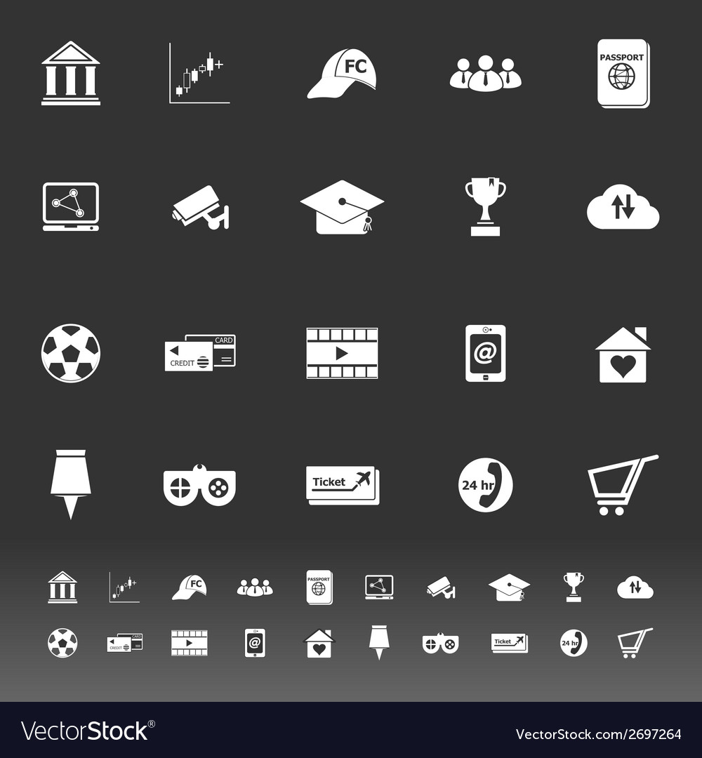 General online icons on gray background vector | Price: 1 Credit (USD $1)