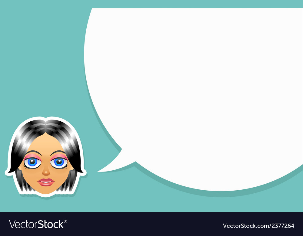 Girl face with speech bubble vector | Price: 1 Credit (USD $1)