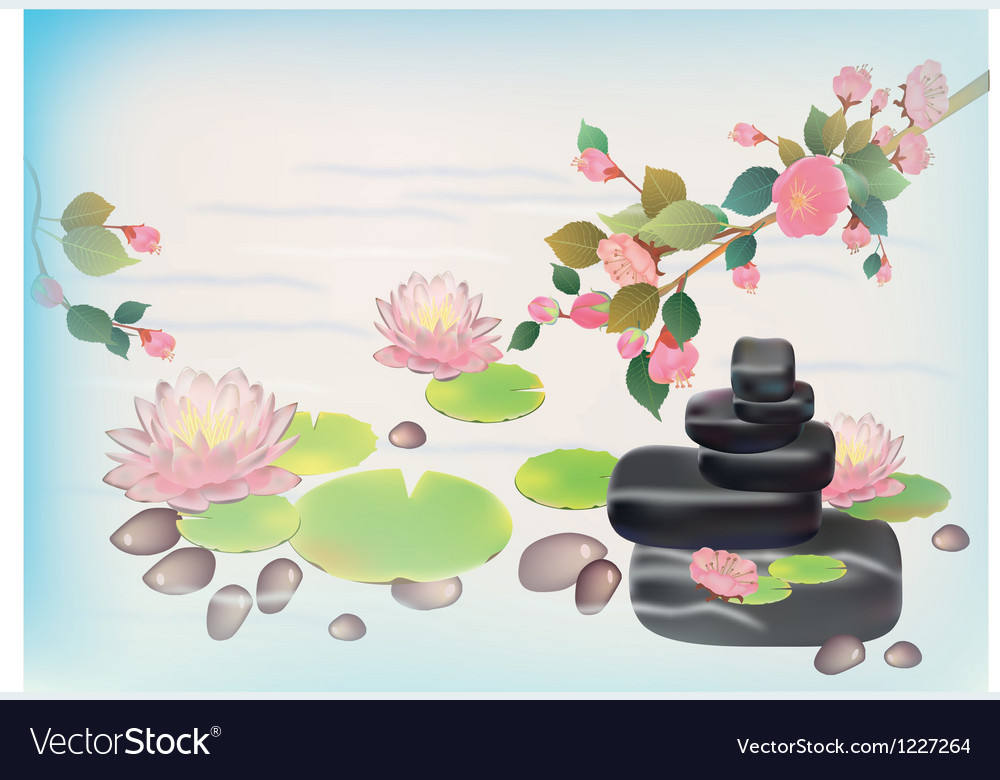 Lily blooming in the japanese garden postcard vector | Price: 1 Credit (USD $1)