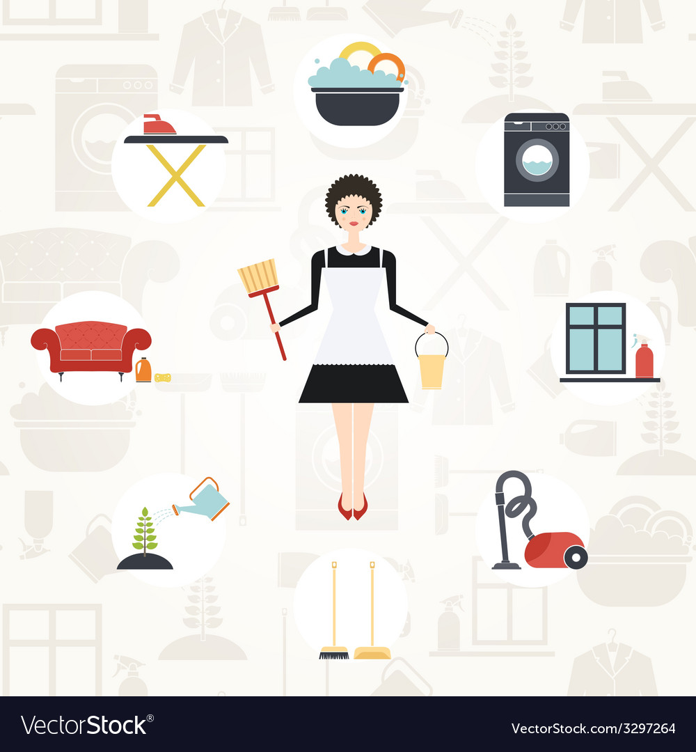 Pretty housekeeper vector | Price: 1 Credit (USD $1)