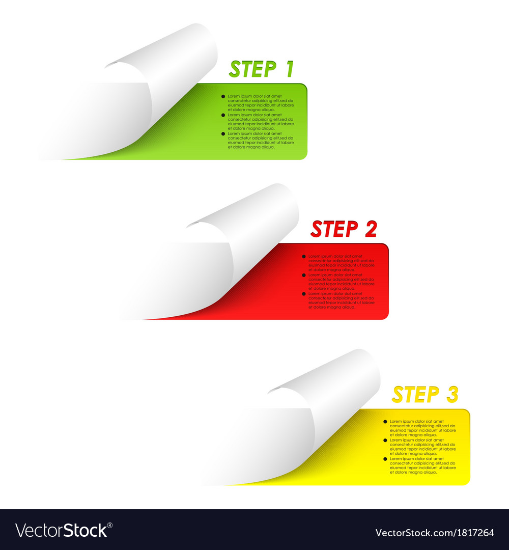Set of colorful sample steps stickers vector | Price: 1 Credit (USD $1)