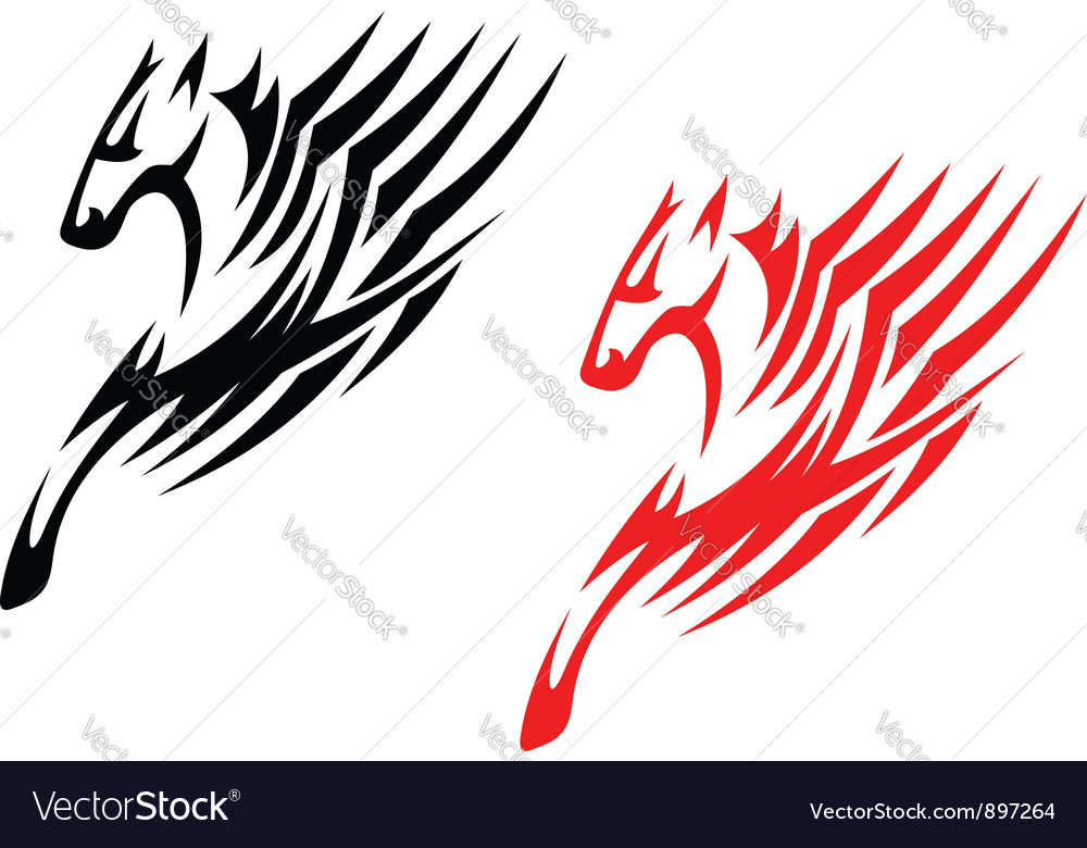Tribal stallions isolated on white vector | Price: 1 Credit (USD $1)