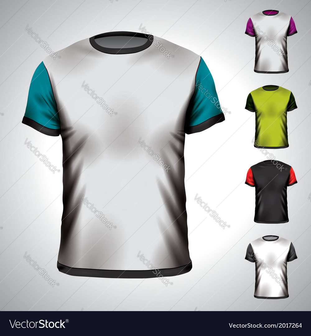 T-shirt design template in various colors vector | Price: 1 Credit (USD $1)