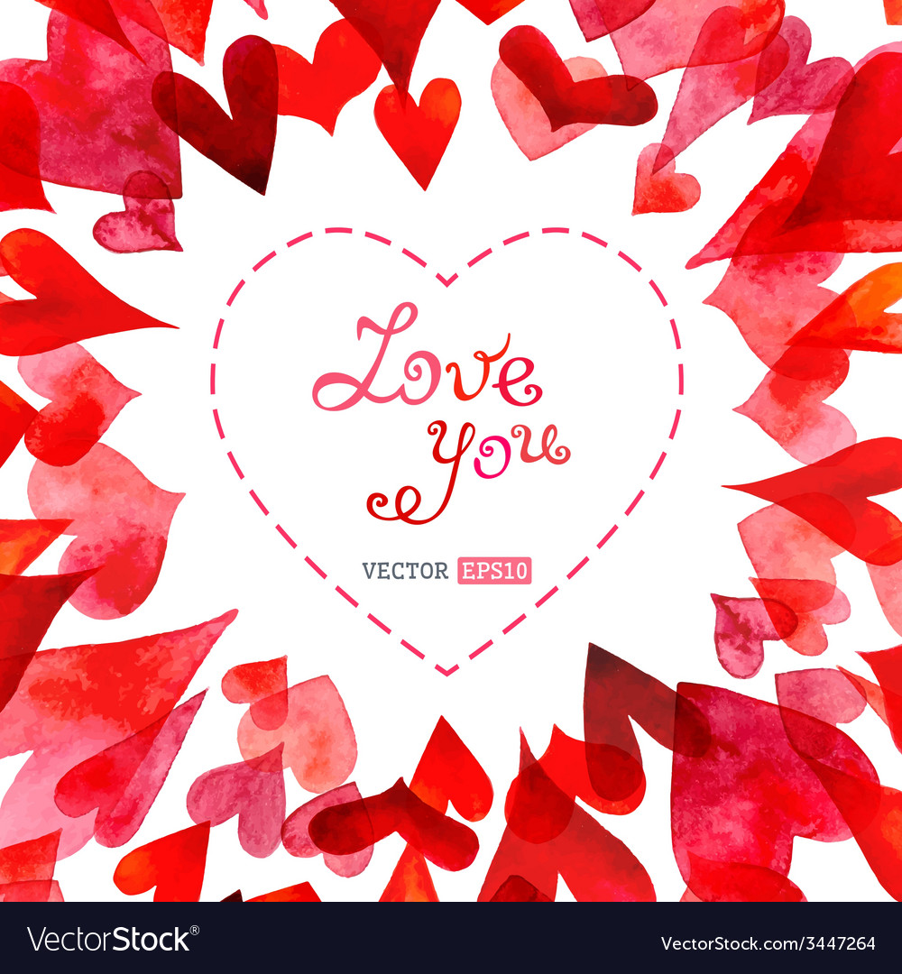 Watercolor hearts background vector | Price: 1 Credit (USD $1)