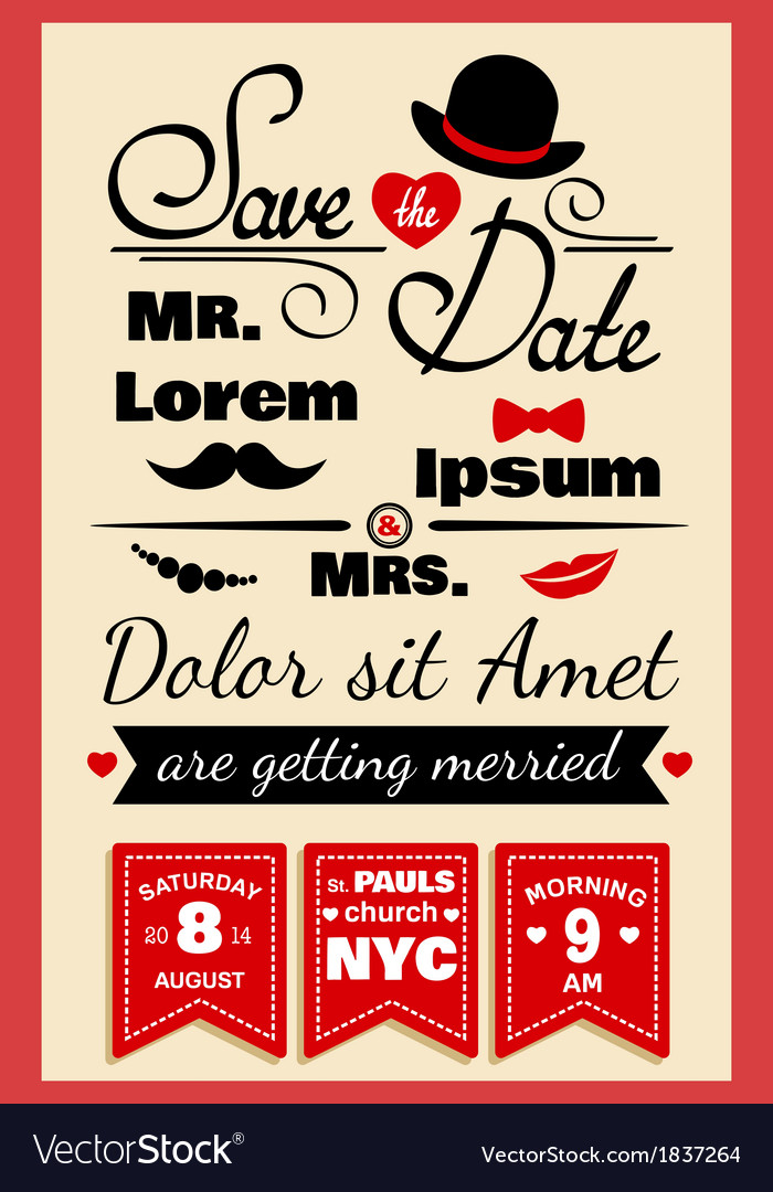 Wedding invitation card in hipster style vector | Price: 1 Credit (USD $1)