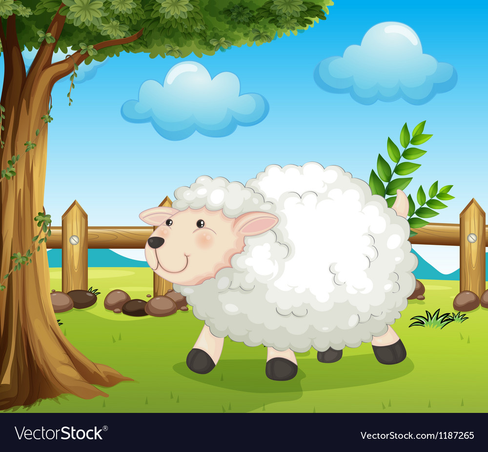 A sheep inside the fence vector | Price: 1 Credit (USD $1)