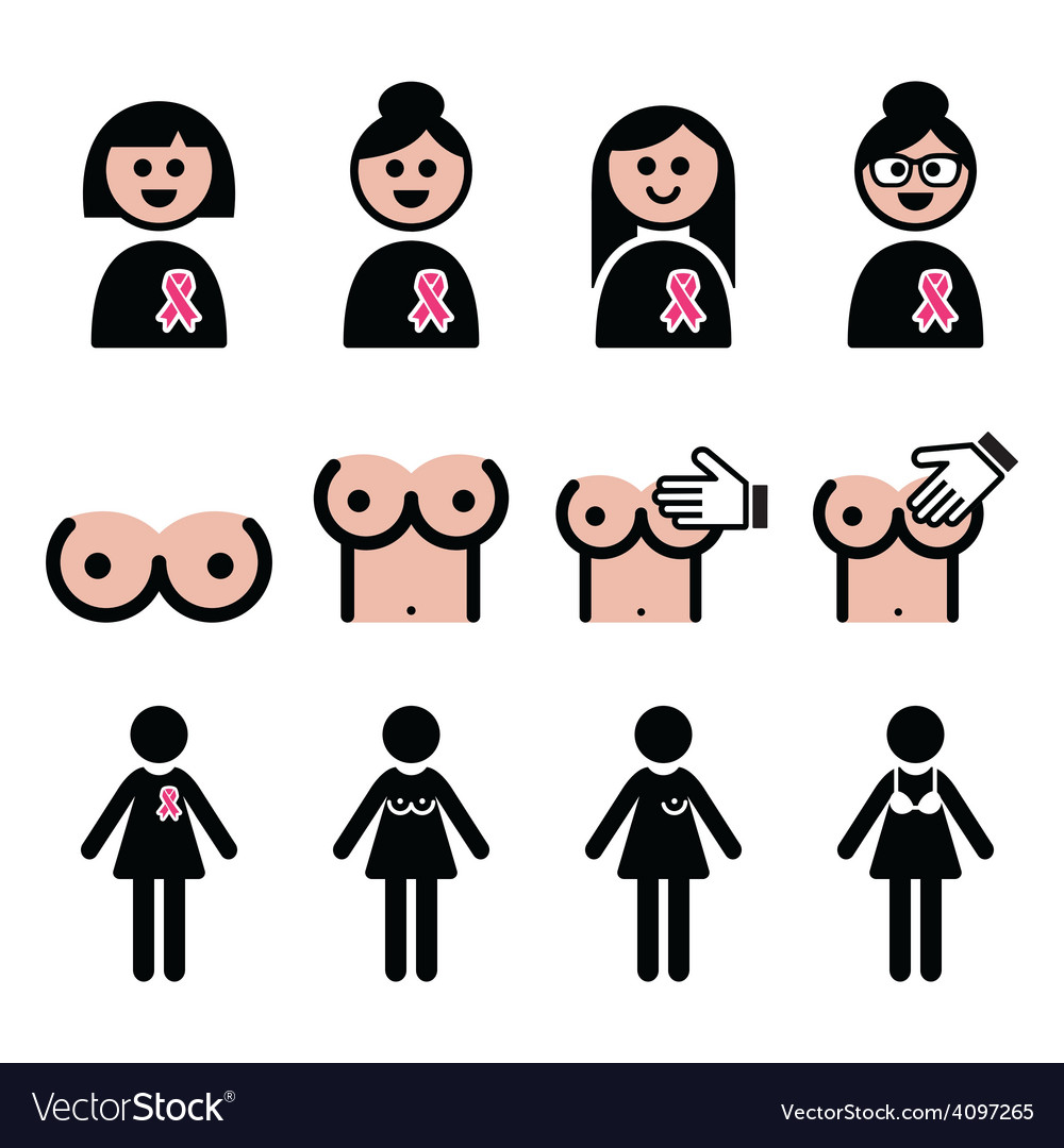 Breast cancer woman with pink ribbon icons set vector | Price: 1 Credit (USD $1)