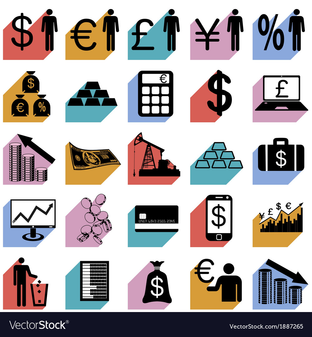 Collection flat icons with long shadow finance vector | Price: 1 Credit (USD $1)