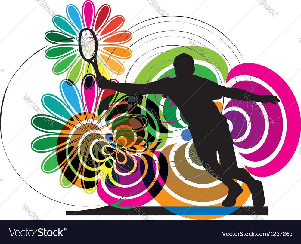 Drawing of man playing tennis vector | Price: 1 Credit (USD $1)