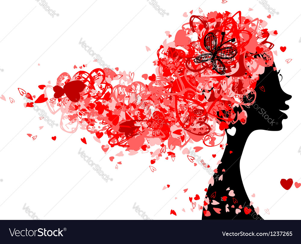 Female head with hairstyle made from tiny hearts vector   Price: 1 Credit (USD $1)