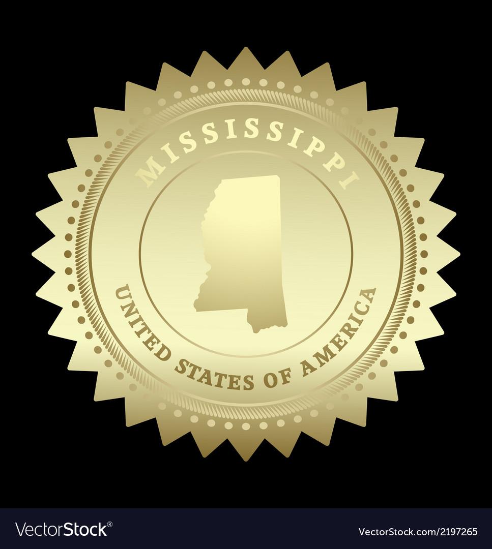 Gold star label mississippi vector | Price: 1 Credit (USD $1)