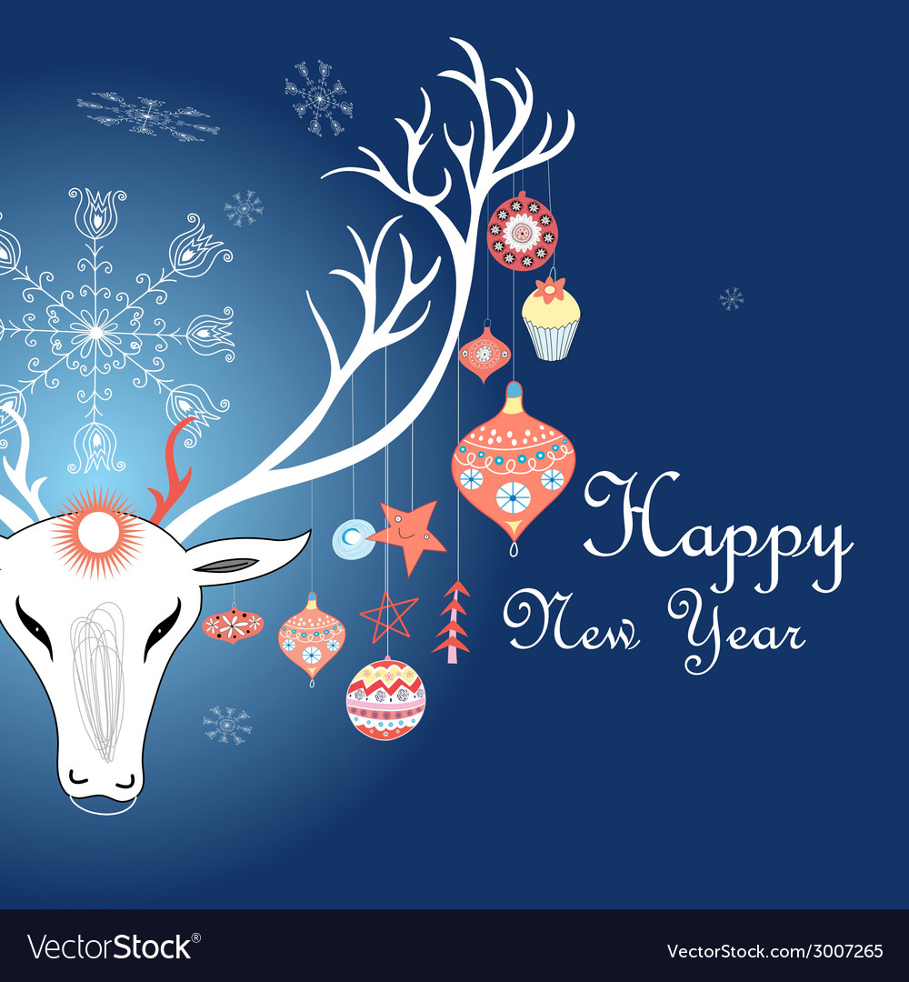 Greeting christmas card with a picture of a deer vector | Price: 1 Credit (USD $1)