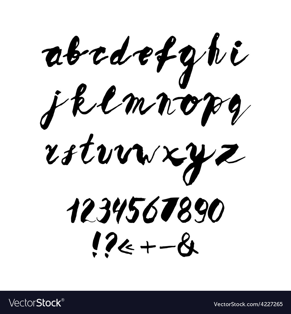 Hand written alphabet with numbers and symbols vector | Price: 1 Credit (USD $1)