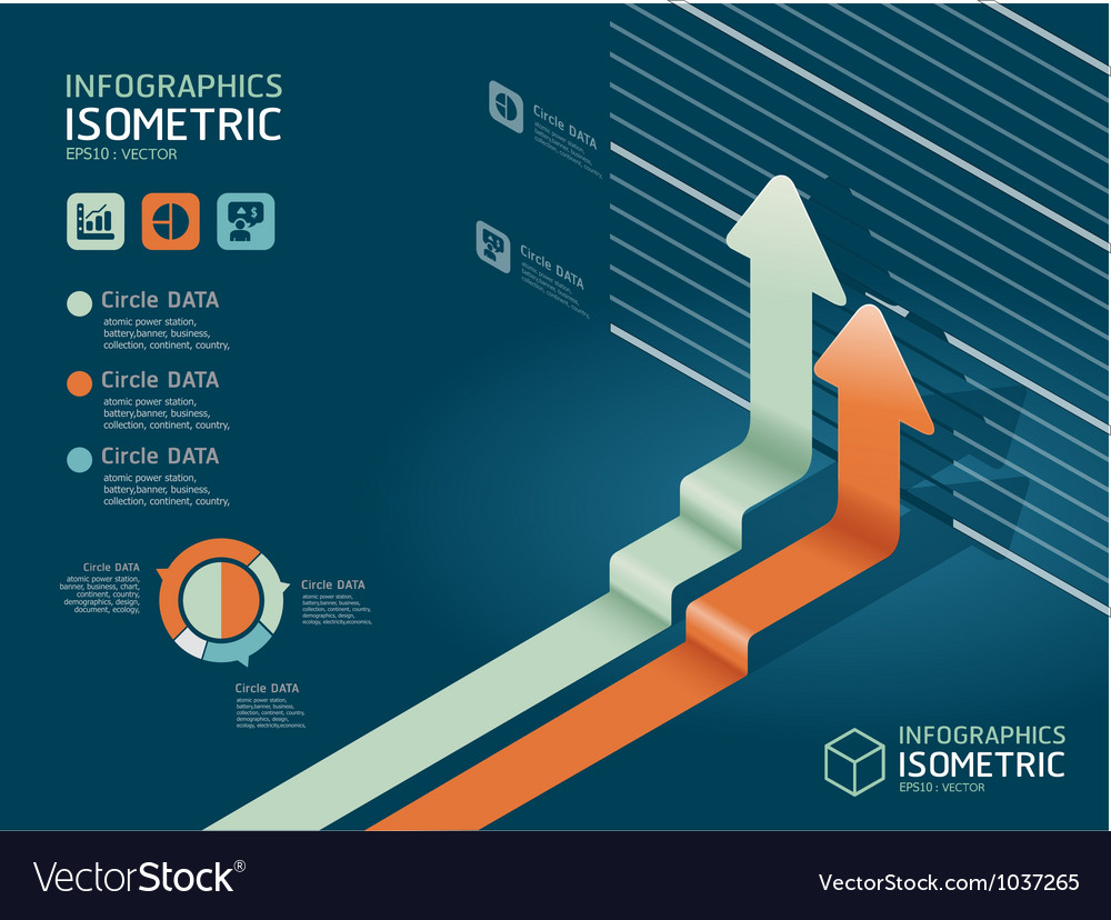 Infographic isometric graph vector | Price: 1 Credit (USD $1)