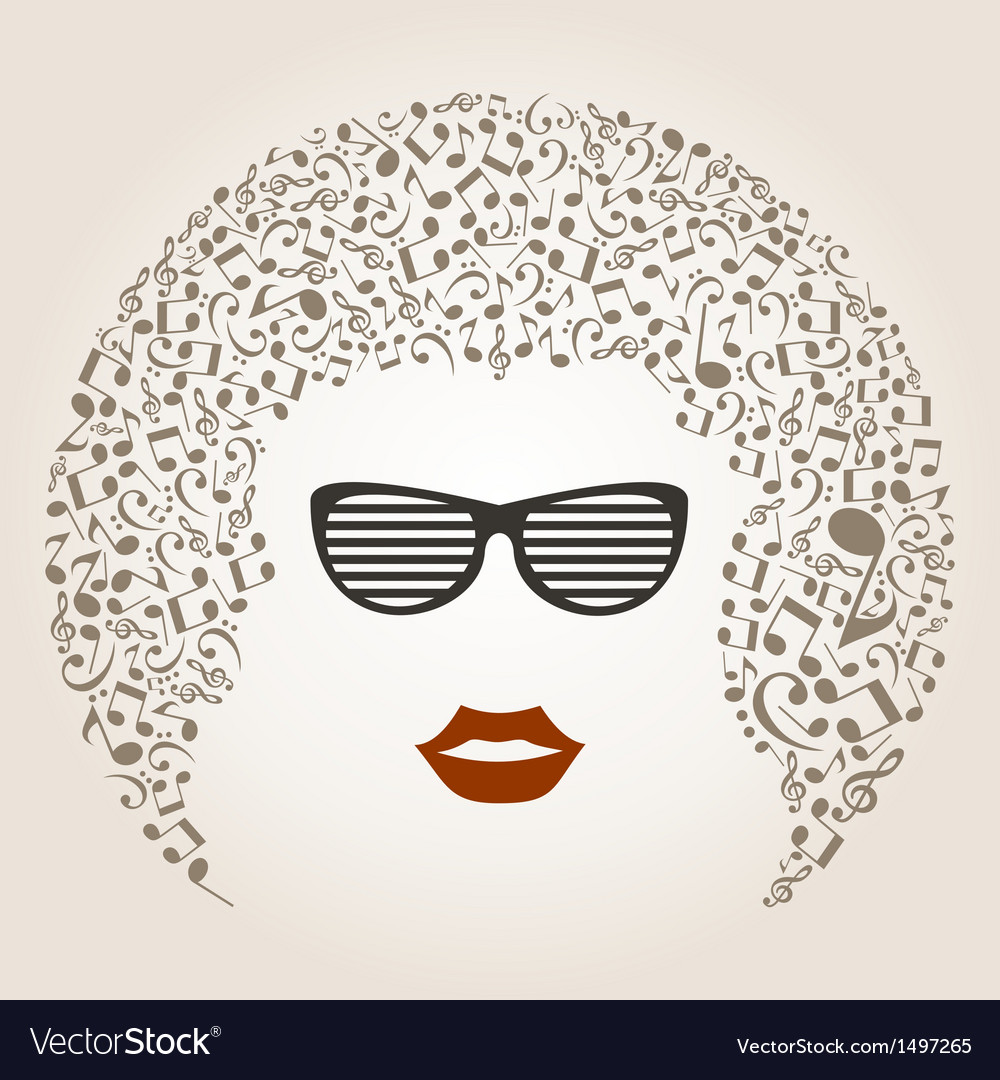 Musical female head vector | Price: 1 Credit (USD $1)