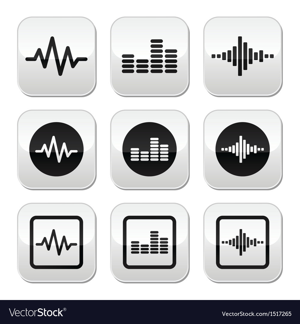 Soundwave music buttons set vector | Price: 1 Credit (USD $1)