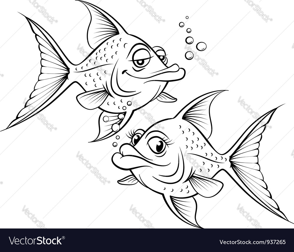 Two drawing cartoon fish vector | Price: 1 Credit (USD $1)