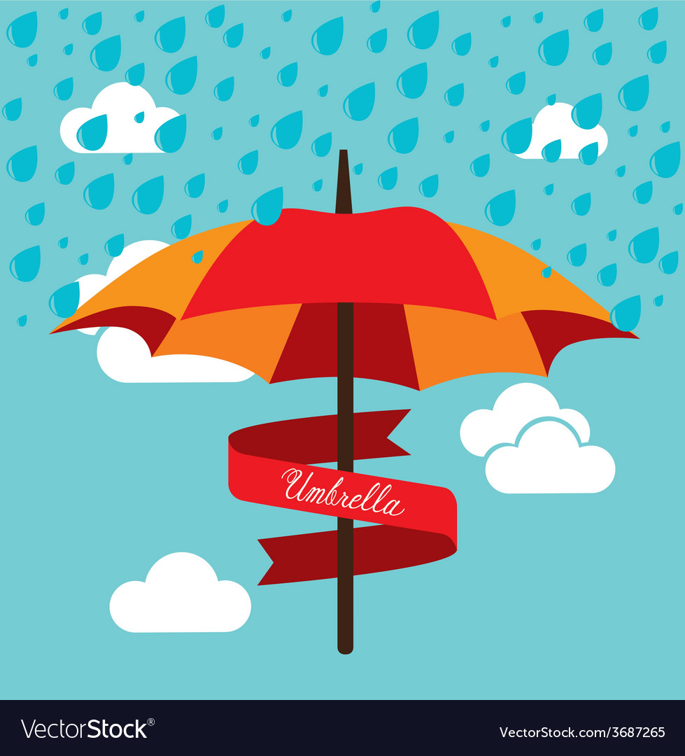 Umbrella design over cloudscape background vector | Price: 1 Credit (USD $1)