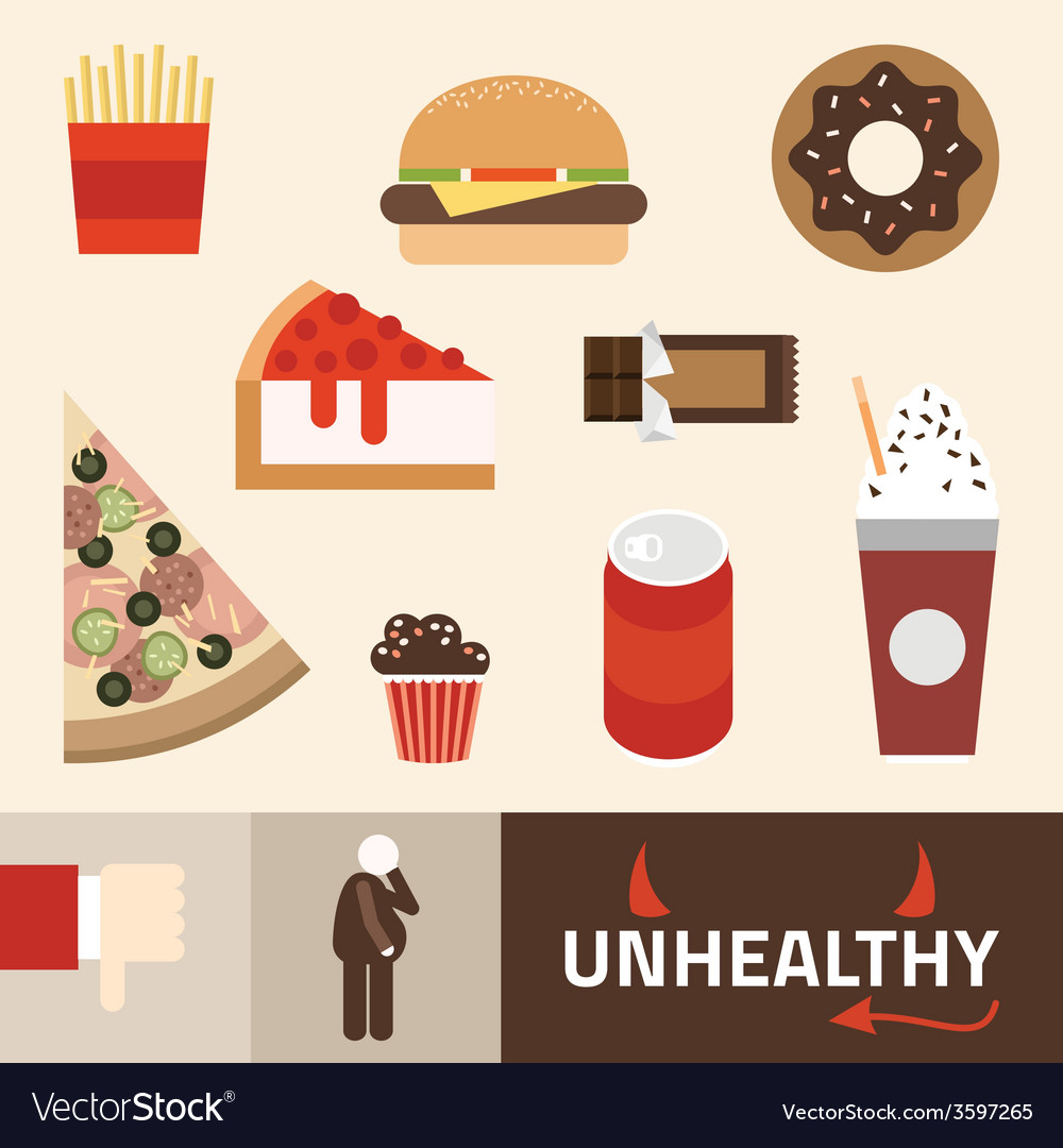 Various unhealthy food - pizza donut burger soda vector | Price: 1 Credit (USD $1)