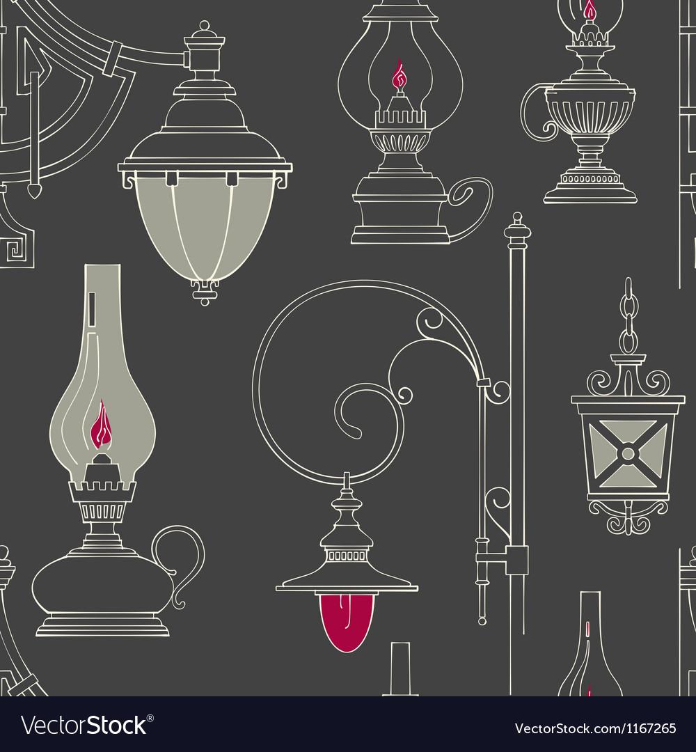 Vintage lamp seamless pattern vector | Price: 1 Credit (USD $1)