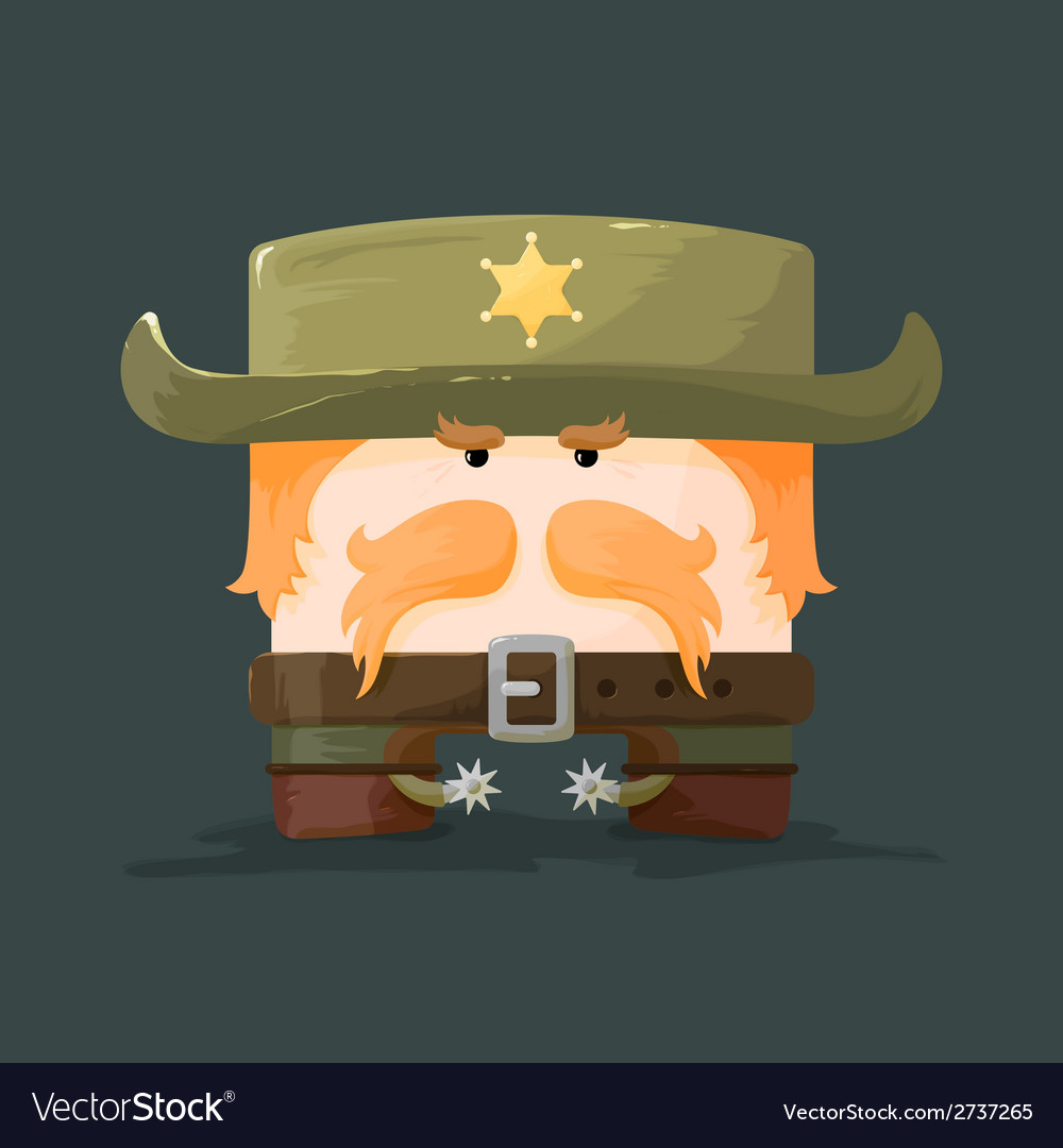 Wild west cartoon sheriff with mustaches and hat vector | Price: 1 Credit (USD $1)