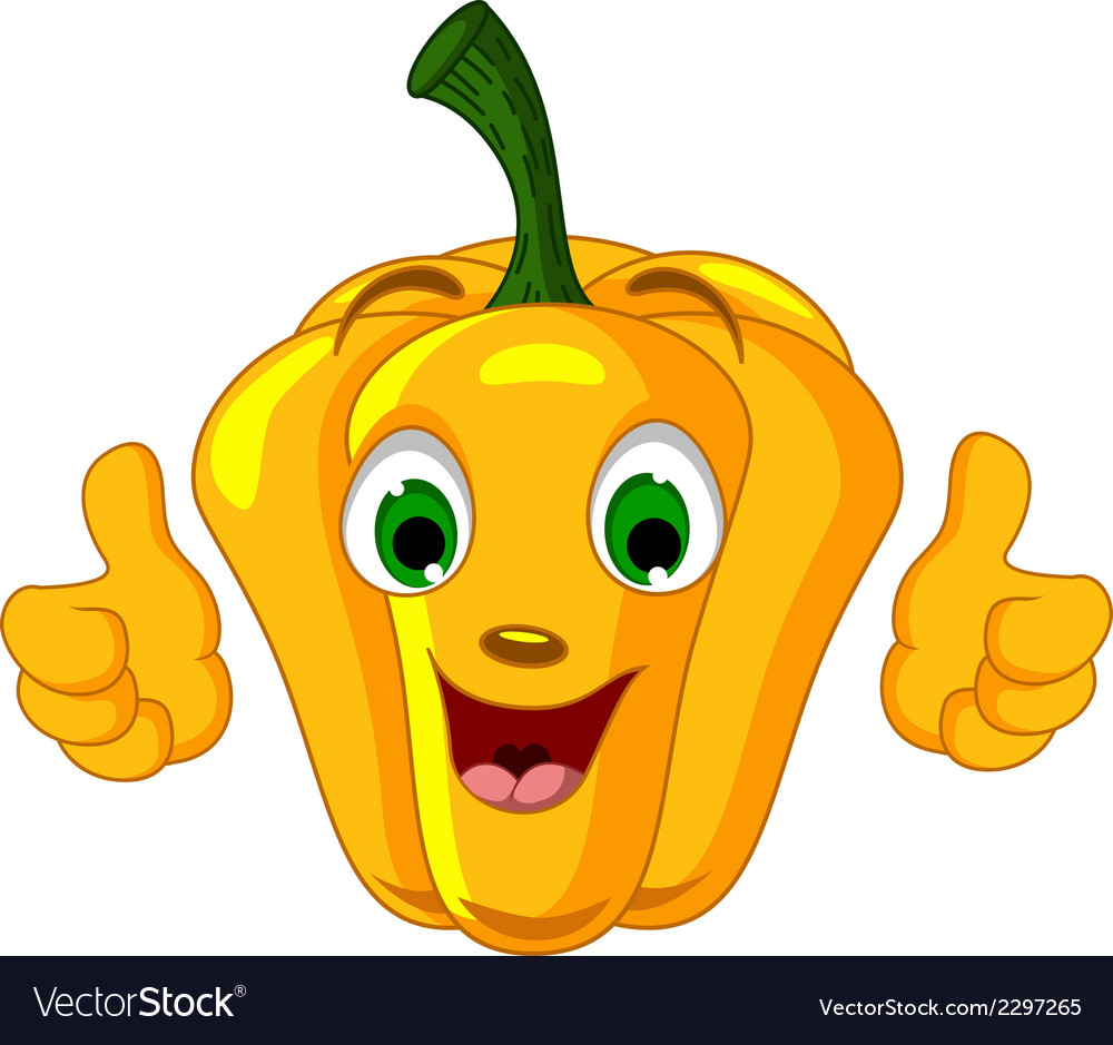 Yellow pepper character giving thumbs up vector | Price: 1 Credit (USD $1)