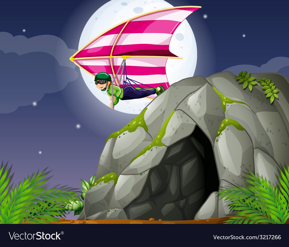 Cave and hanggliding vector | Price: 3 Credit (USD $3)