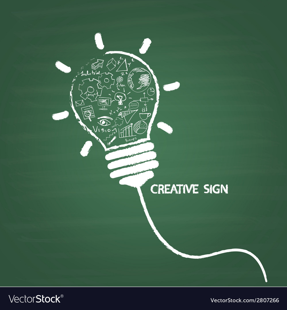 Creative light bulb handwriting on blackboard vector | Price: 1 Credit (USD $1)
