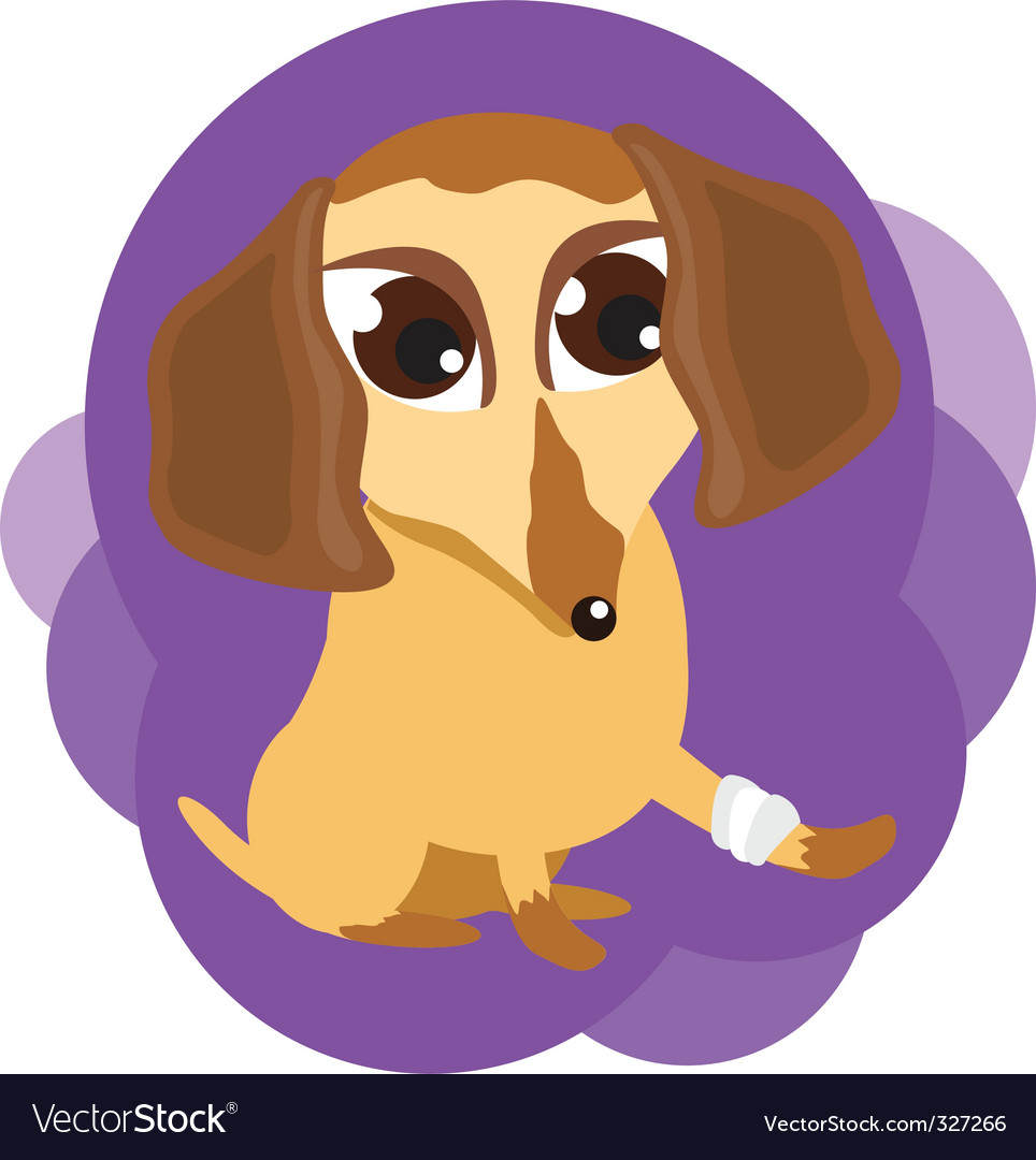 Dog with a sick leg vector | Price: 1 Credit (USD $1)