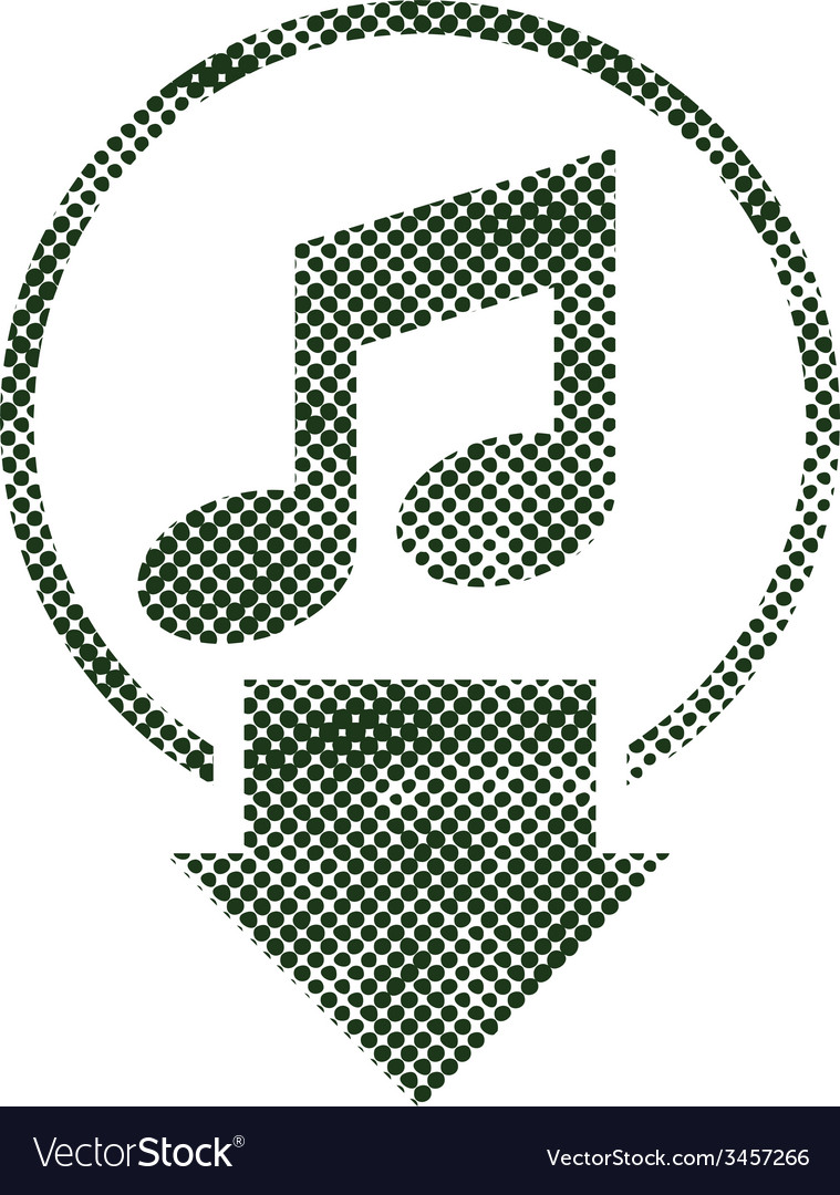 Download music icon with halftone print dots vector | Price: 1 Credit (USD $1)