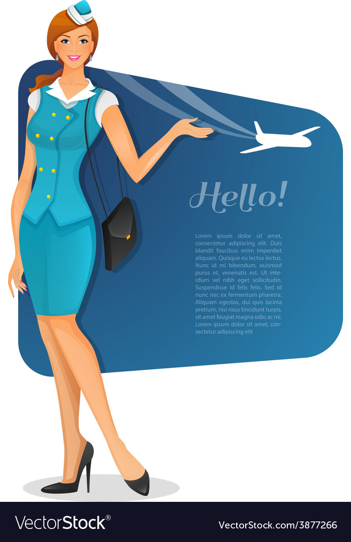Girl in stewardess uniform vector | Price: 3 Credit (USD $3)