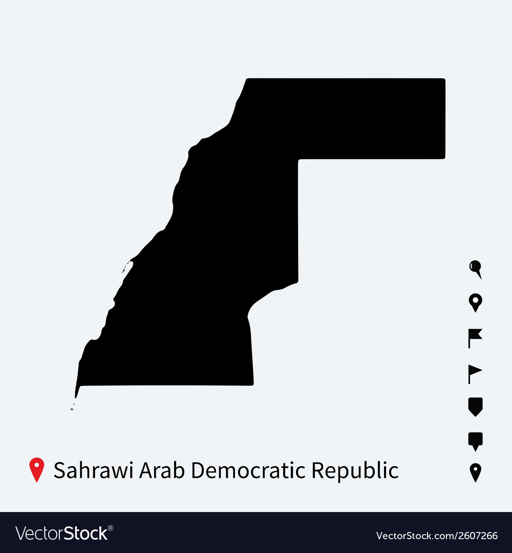 High detailed map of sahrawi arab democratic vector | Price: 1 Credit (USD $1)