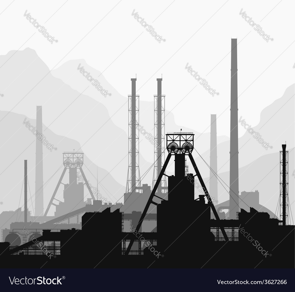 Mineral fertilizers plant over great mountains vector | Price: 1 Credit (USD $1)