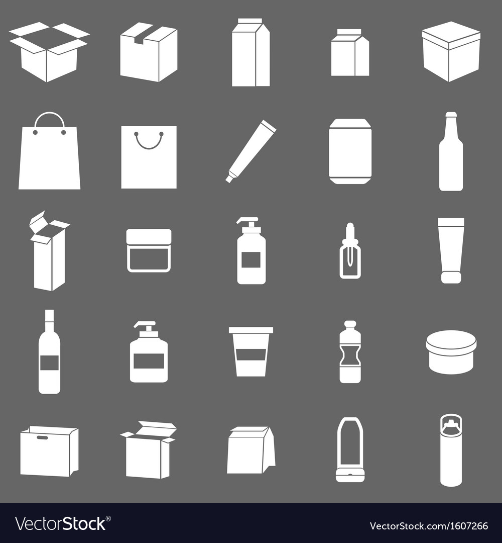 Packaging icons on gray background vector | Price: 1 Credit (USD $1)