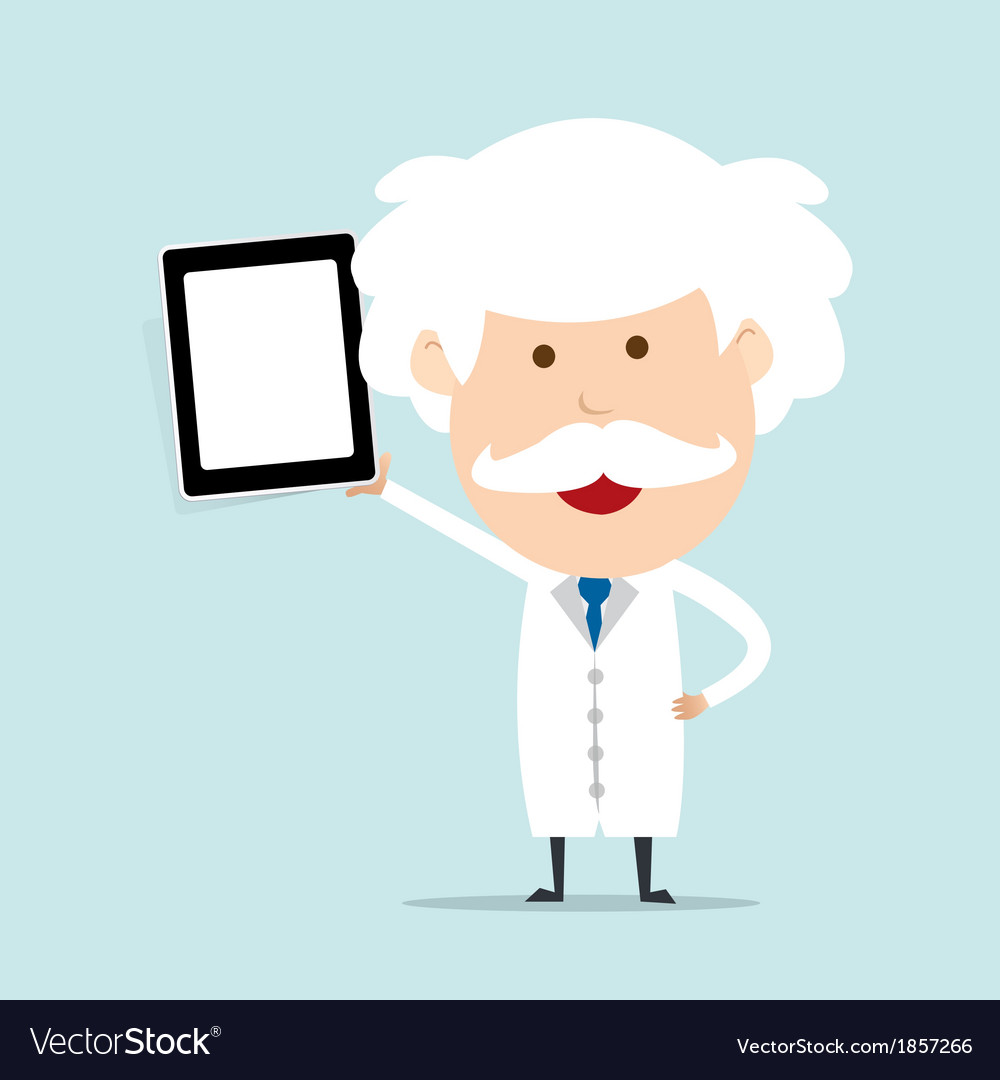Professor hold touch screen device vector | Price: 1 Credit (USD $1)