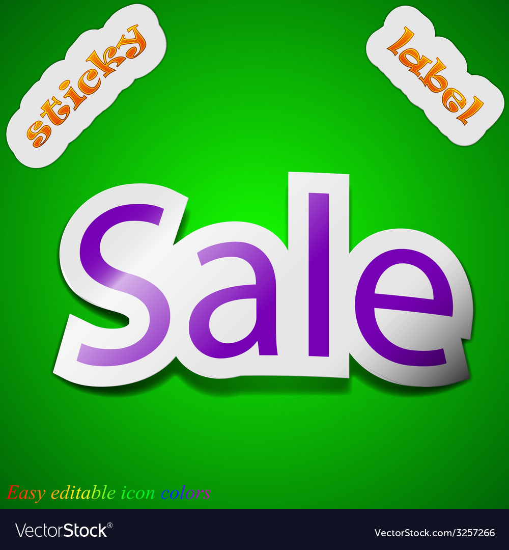 Sale tag icon sign symbol chic colored sticky vector | Price: 1 Credit (USD $1)
